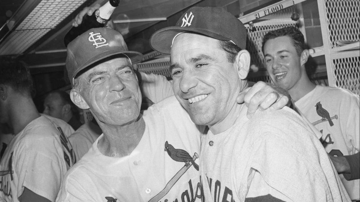 October 15, 1964: Yogi Berra congratulating Johnny Keane after Game 7.