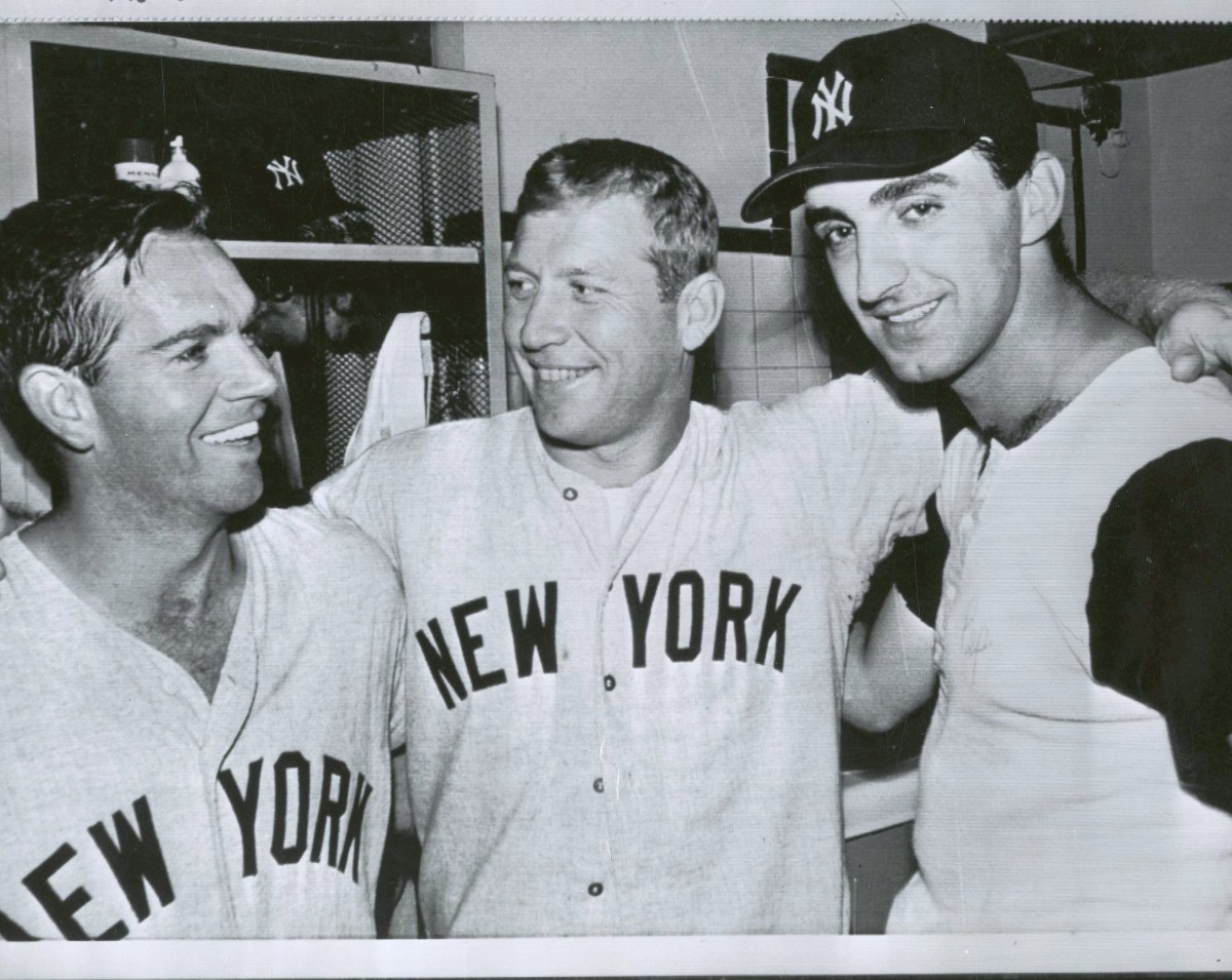 June 29 - A rare moment. Richardson, Mantle & Pepitone celebrate a win at Fenway Park. Mantle and Pep hit HRs while Richardson went 5 for 5.