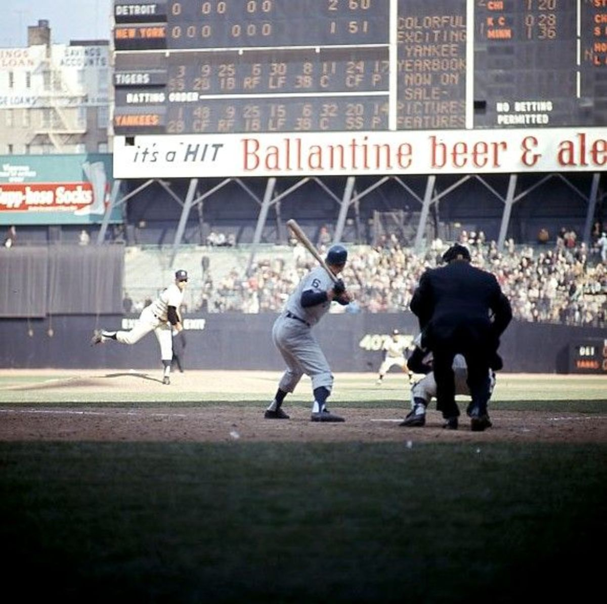Sunday, June 19. Jim Bouton facing Al Kaline in the top of the 9th, down 2-1. Kaline smacked a double, though he did not score.  Yanks lost 2-1.