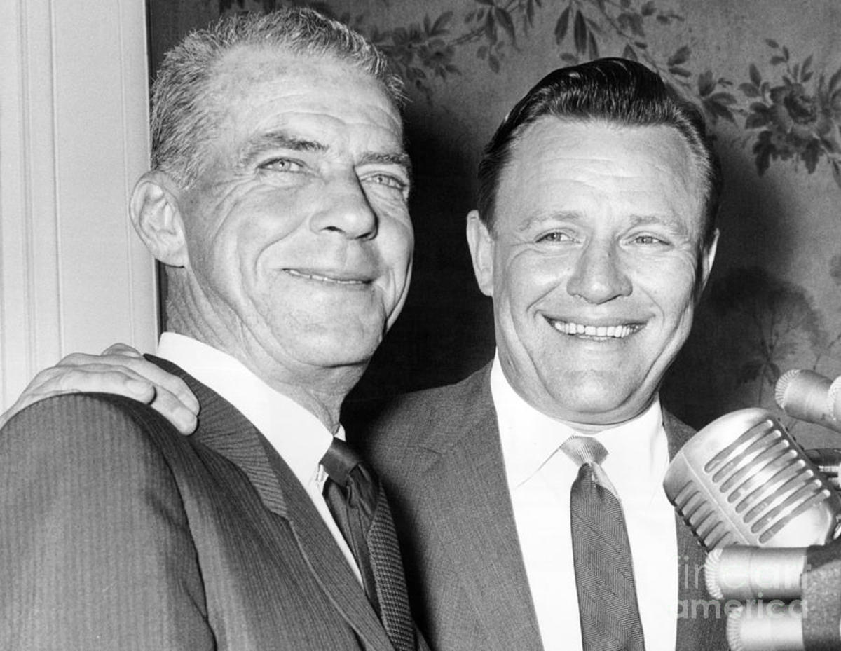 October 20, 1964 - Johnny Keane (L) being introduced by new GM, Ralph Houk. The smiles did not last long.