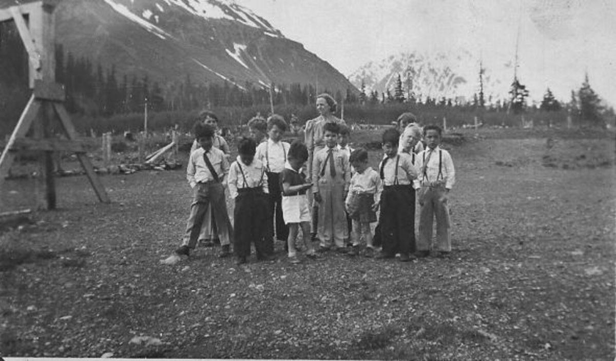 "Bertha McGhee and ""her boys"" Seward, Alaska Jesse Lee Home 1940"