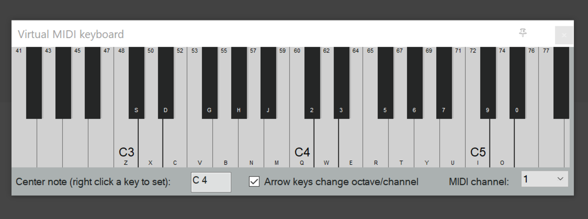 Reaper's virtual keyboard can be used with virtual synths like Izotope's Iris 2 or Piano One by SoundMagic. Letters on the piano keys show you which computer keyboard buttons you need to play each note