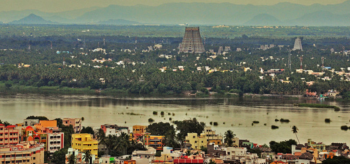Sri Ranganathaswamy Temple at Srirangam. View from Rock Fort Templel, Trichy.