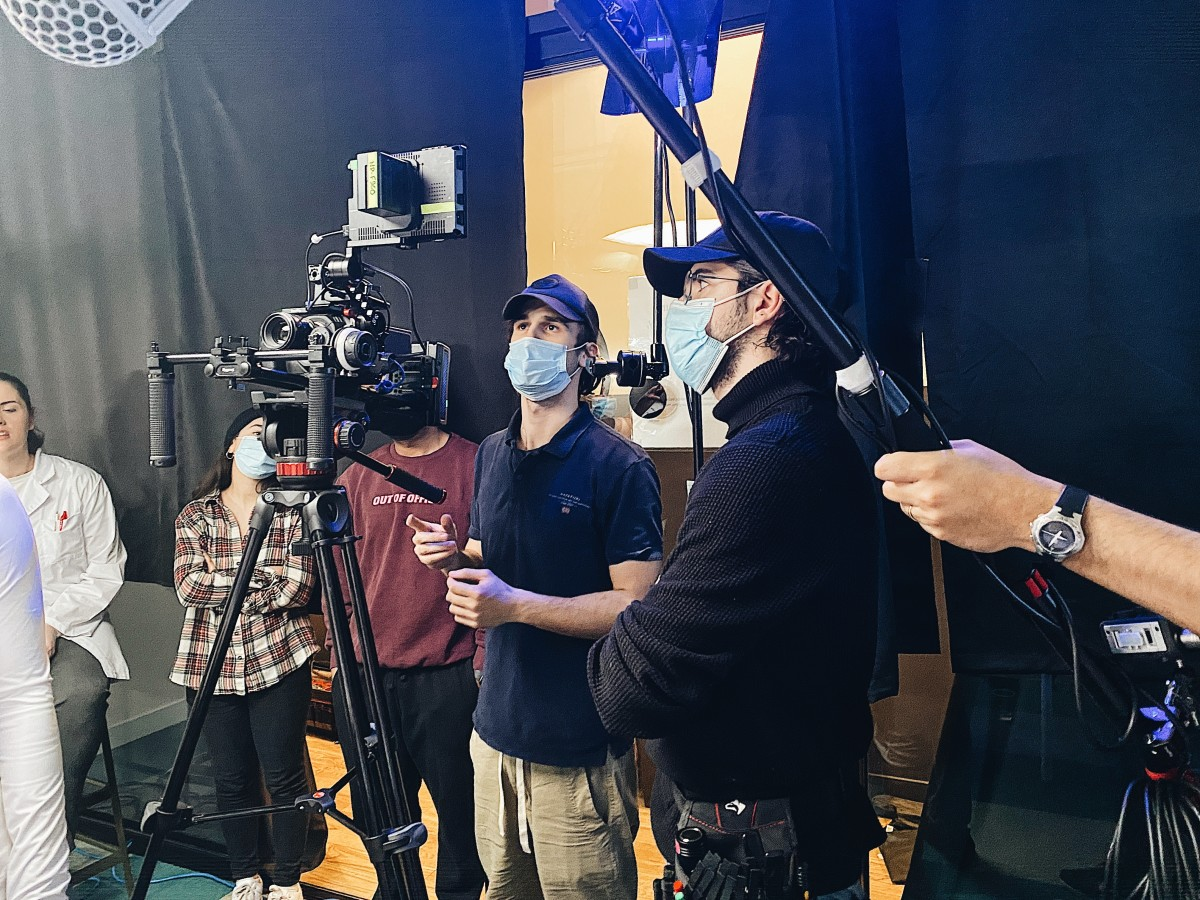 R-L: Production assistant Utkarsh Kumar, Film Director and Producer Glen Mitku, 1st Assistant camera Aaron Zimmerman, Boom Operator Leopoldo Ruiz on the set of The Red Queen (2021). Photographed by Erigerta Deda
