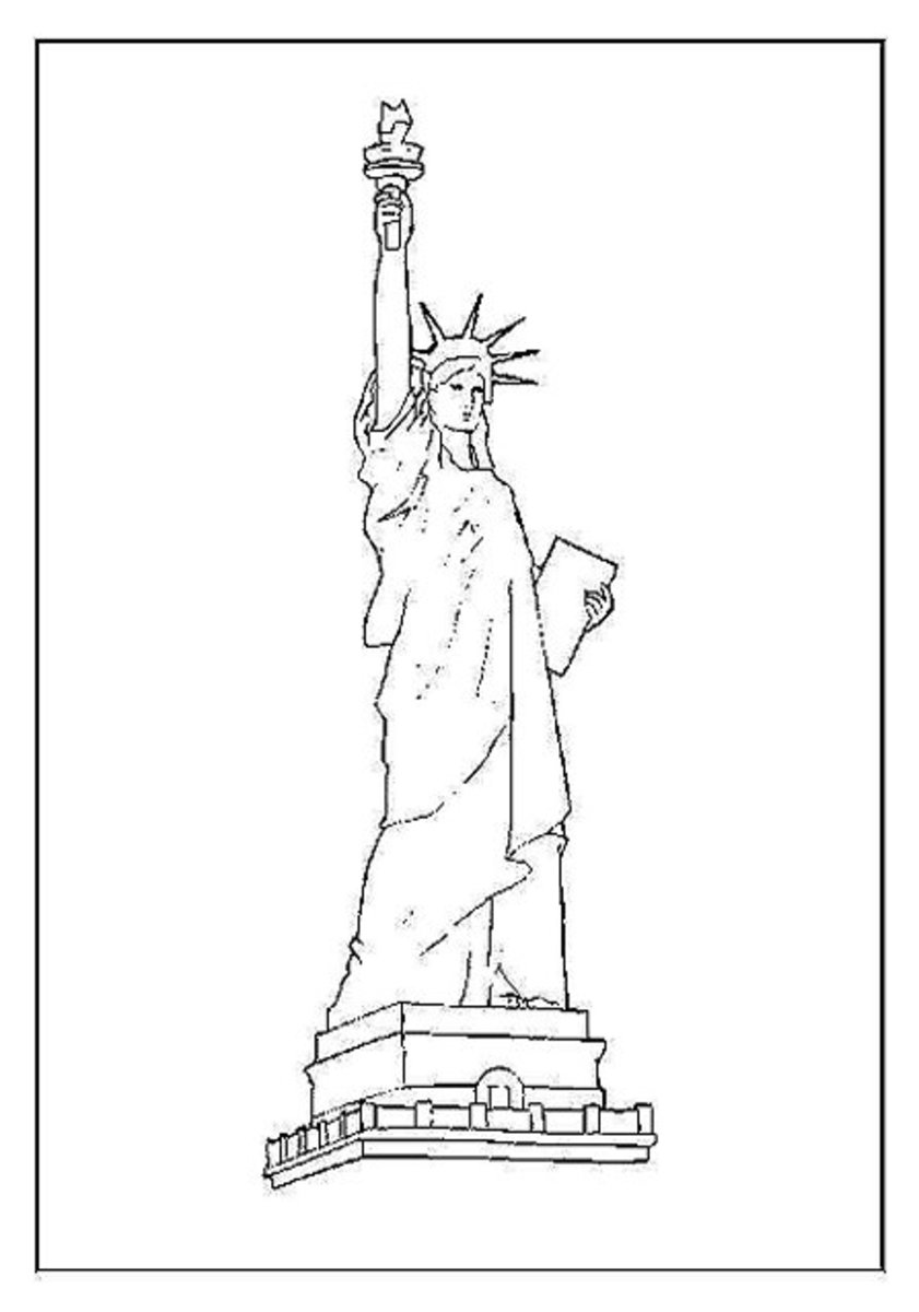 Statue of Liberty - Patriotic America Kids Coloring Pages and Free Colouring Pictures to Print