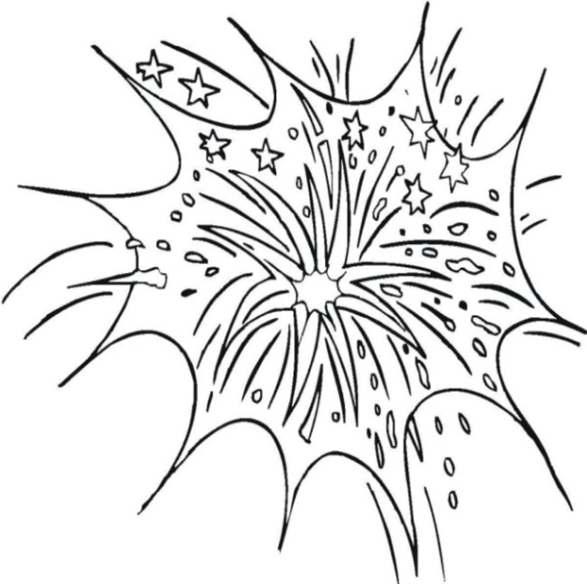 Fireworks Skyburst - Patriotic America Kids Coloring Pages and Free Colouring Pictures to Print