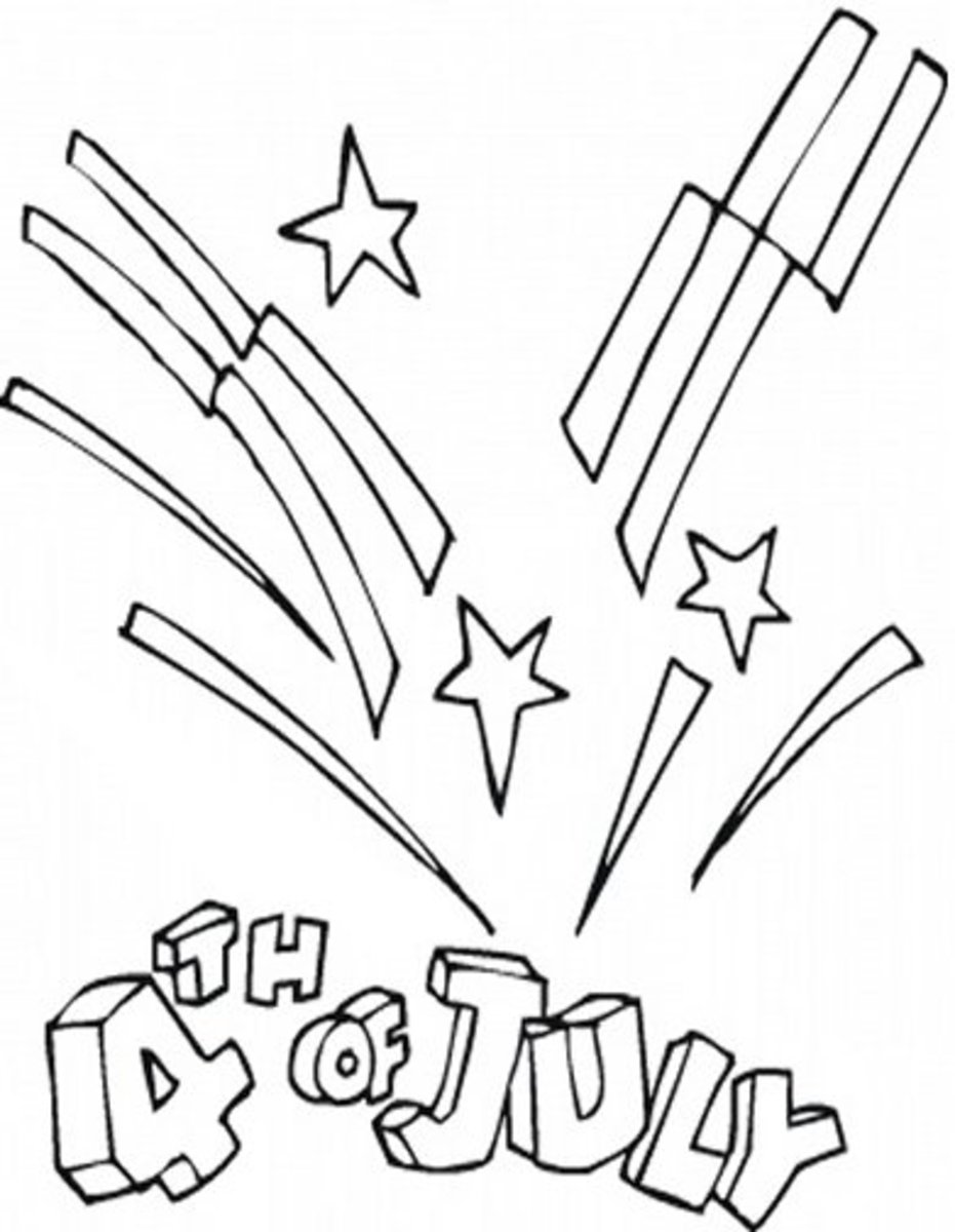 Fireworks Rockets - Patriotic America Kids Coloring Pages and Free Colouring Pictures to Print
