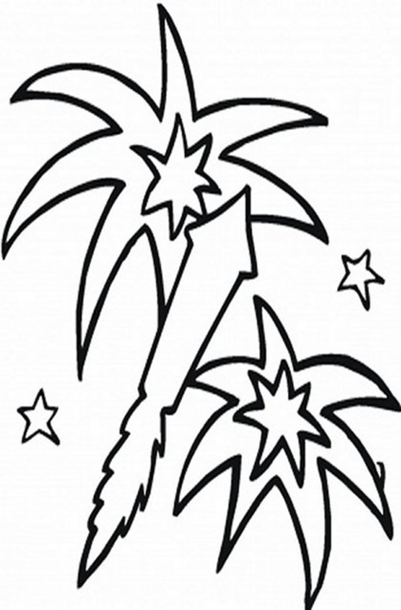 Fireworks - Patriotic America Kids Coloring Pages and Free Colouring Pictures to Print
