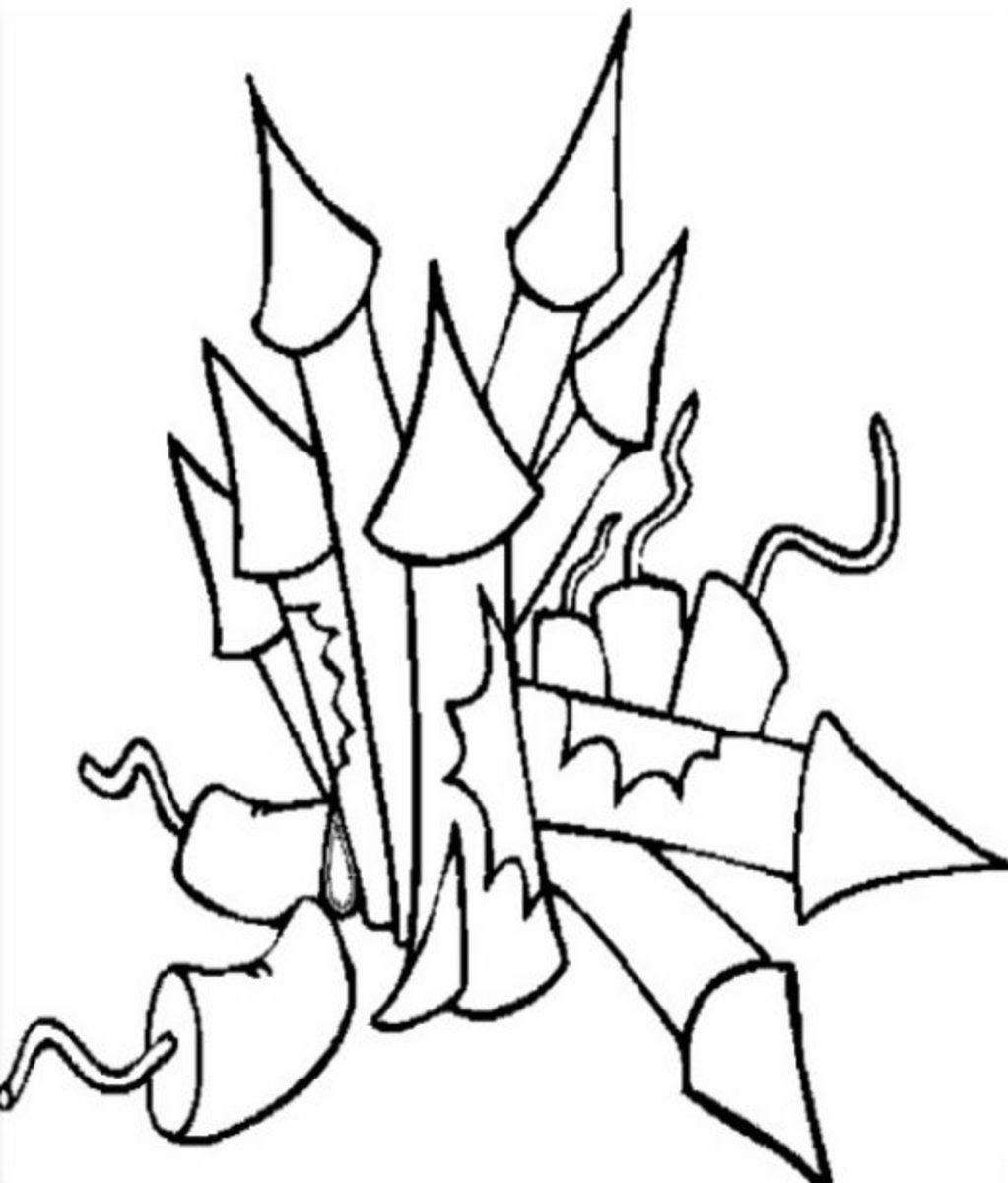 Fireworks Rockets Ready - Patriotic America Kids Coloring Pages and Free Colouring Pictures to Print