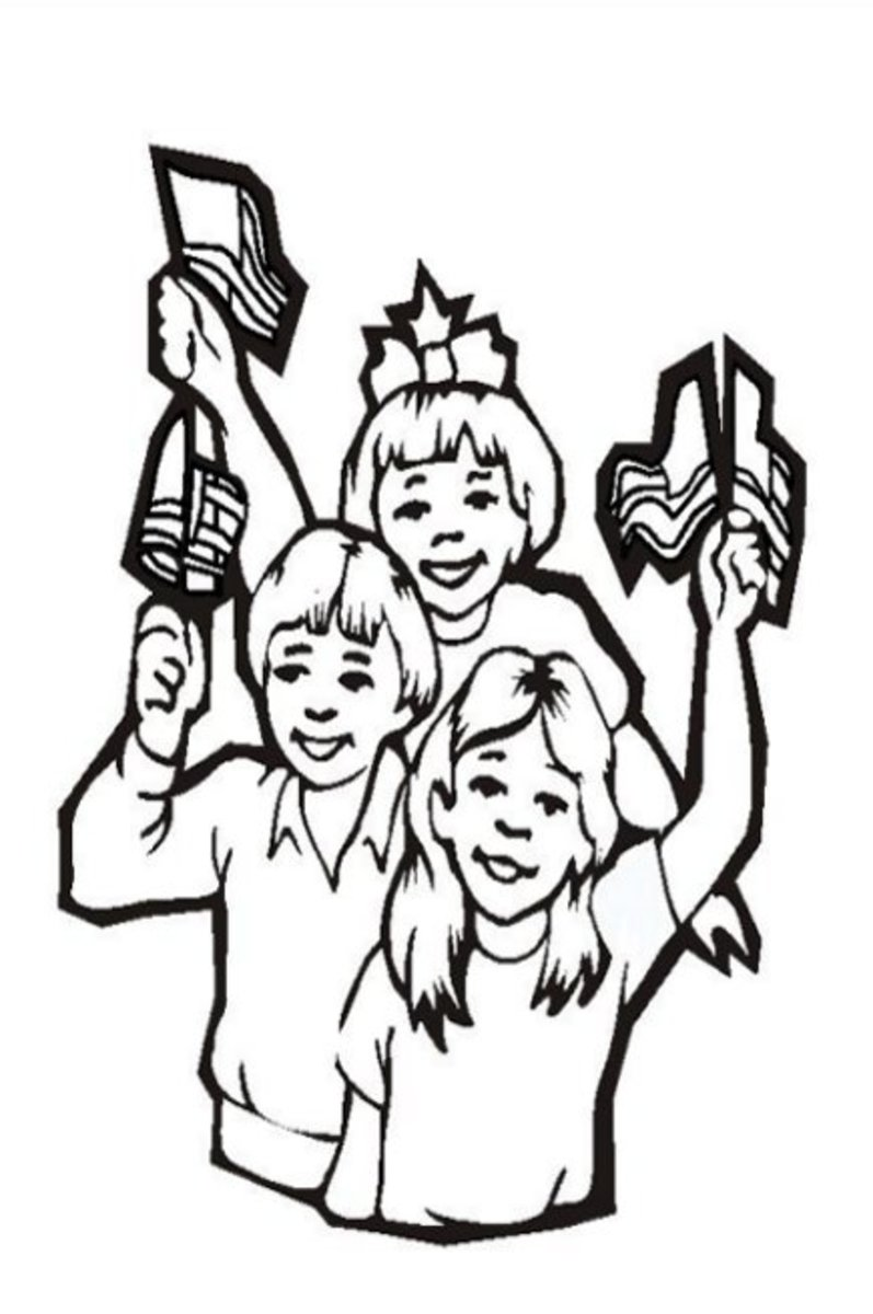 Family Time - Patriotic America Kids Coloring Pages and Free Colouring Pictures to Print