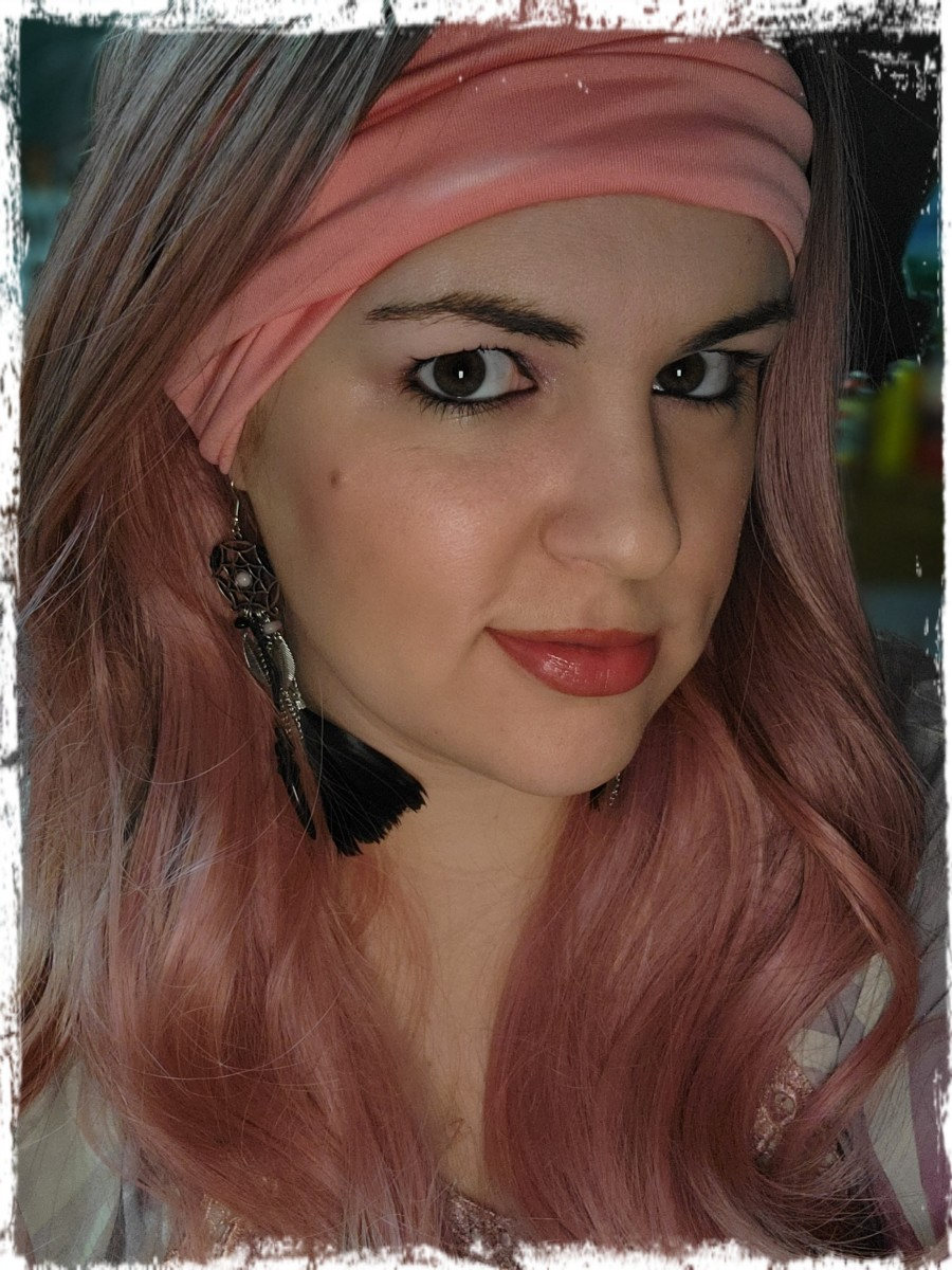 Me wearing a pink Amazon wig