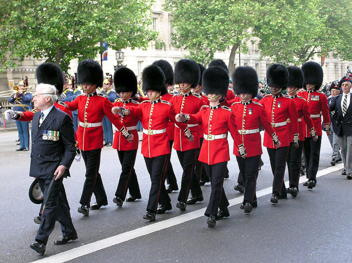 irish Guards marching to Cenotaph (Whitehall) in 2005 for a ceremony remembering Irish soldiers (public domain).