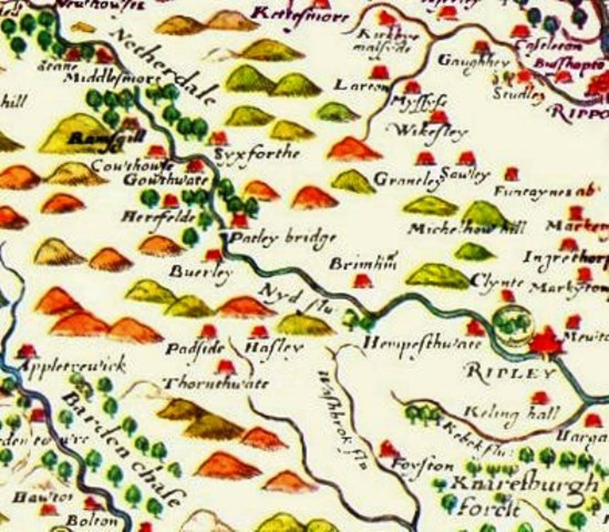Late Tudor Saxton 1577 map of Nidderdale marked as 'Netherdale', with Pateley Bridge at the centre as the point where the Nidd changes character from fast-flowing upland watercourse to something more sedate
