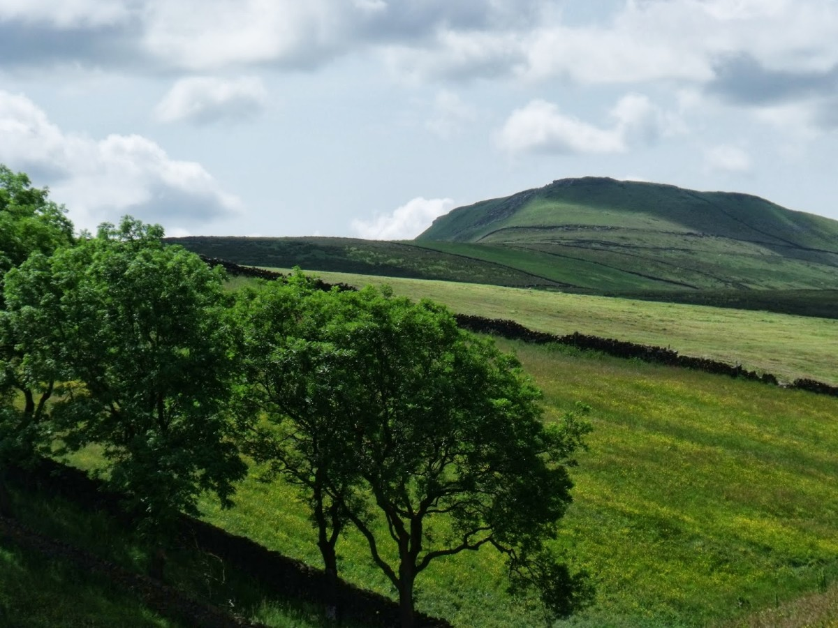 Green Crag in Upper Nidderdale, the landscape looks increasingly mountainous as you travel or walk westward
