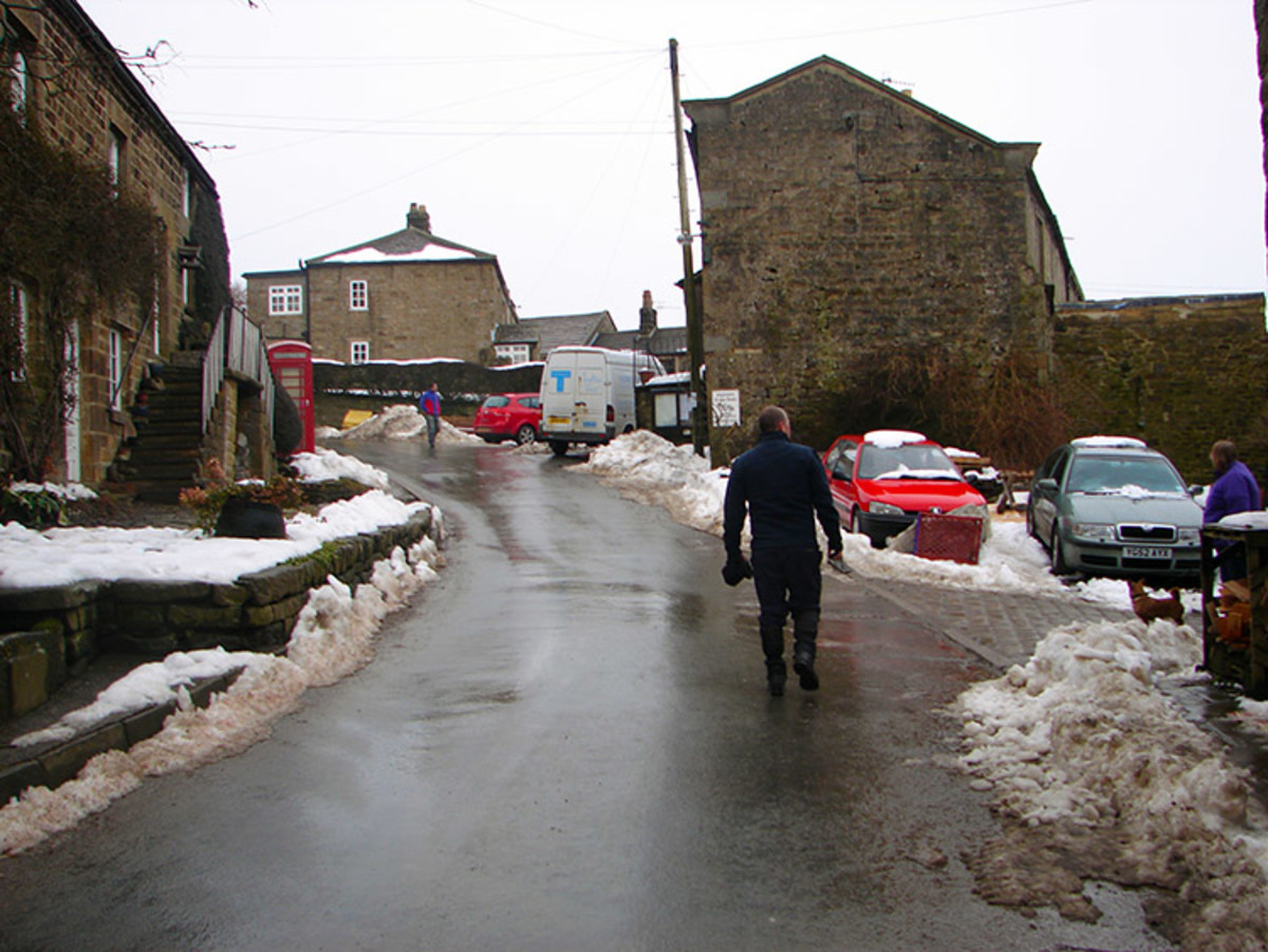 The main street, Middlesmoor in less clement weather, although still walkable