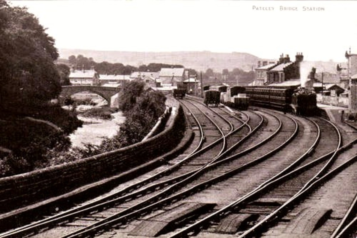 Pateley Bridge Station, 1905. Bradford Corporation sent men and materials via a narrow gauge railway from here up the dale to create two large reservoirs for its citizens