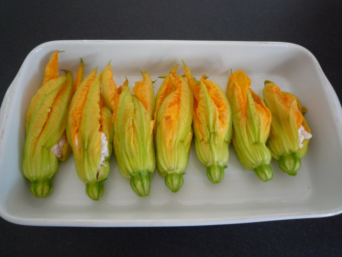 Stuffed Zucchini Flowers- Greek Style