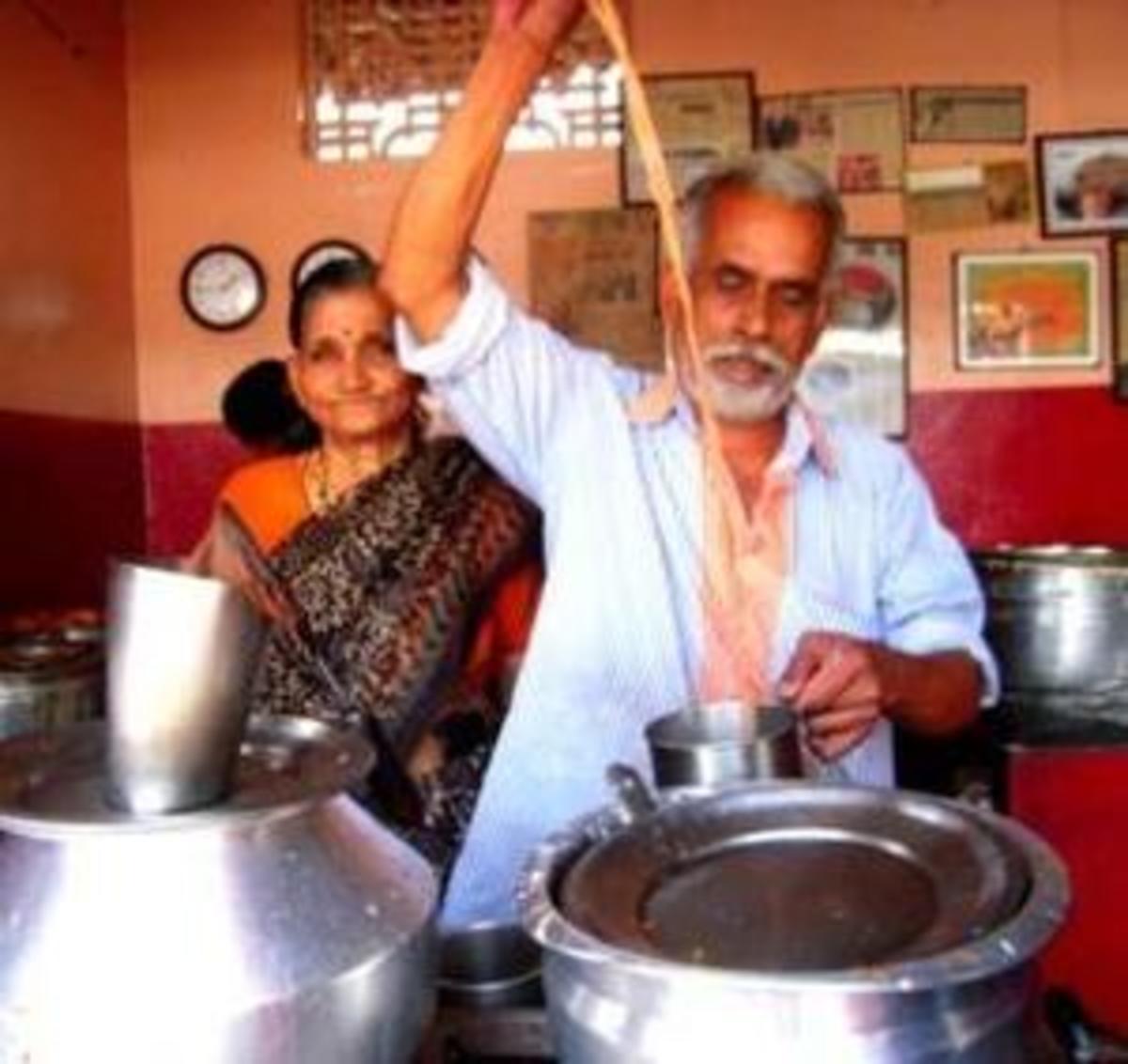 Vijayan and wife at their tea shop in Kochi
