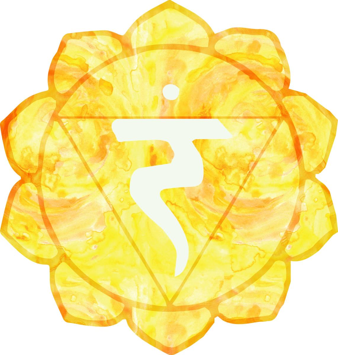 The third chakra or solar plexus chakra is located between the navel and the solar plexus, and it associated with the color yellow.