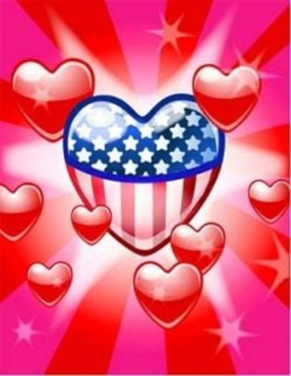 American Flag and Hearts