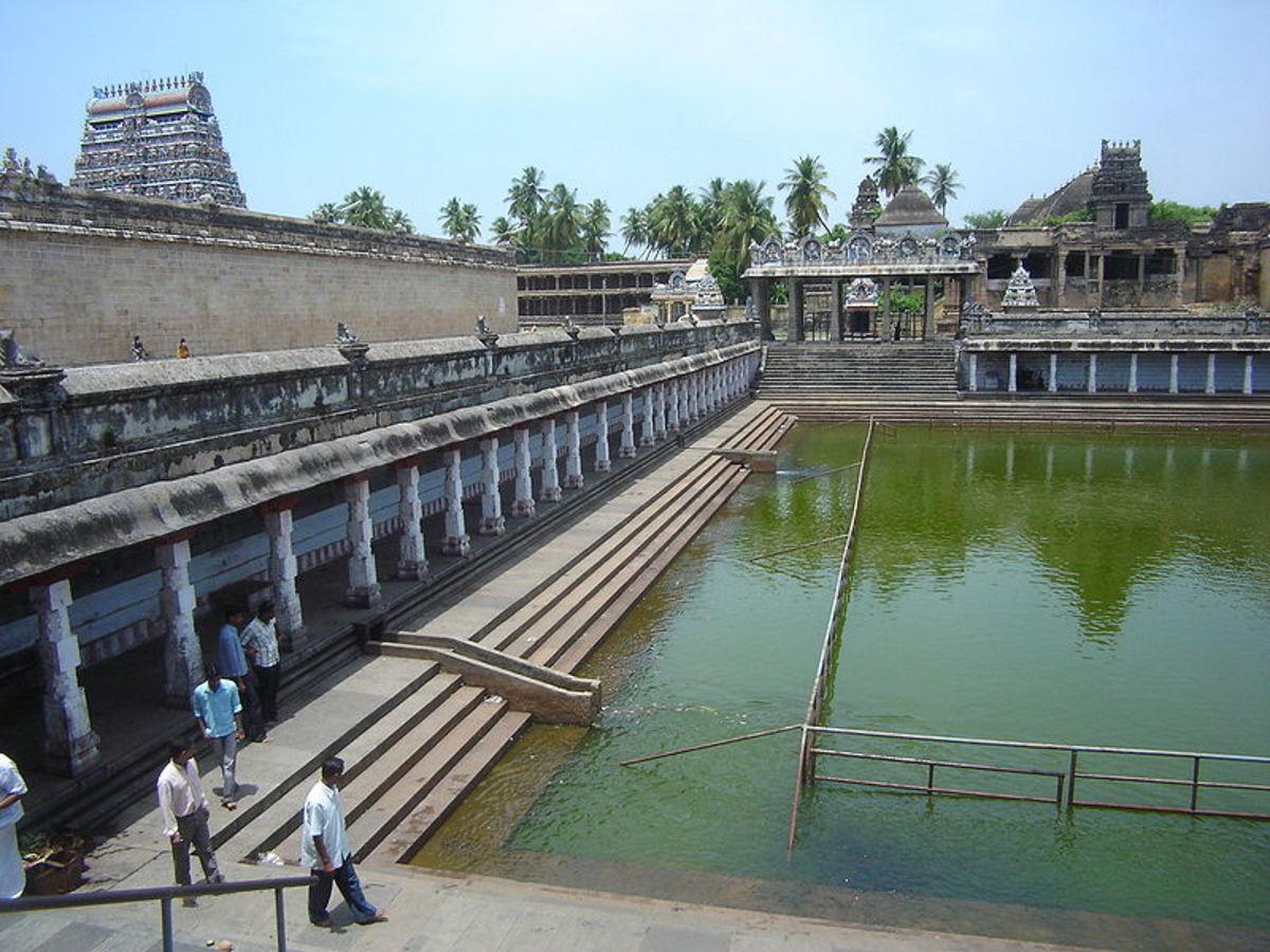 Temple tank of the Nataraja temple in Chidambaram,