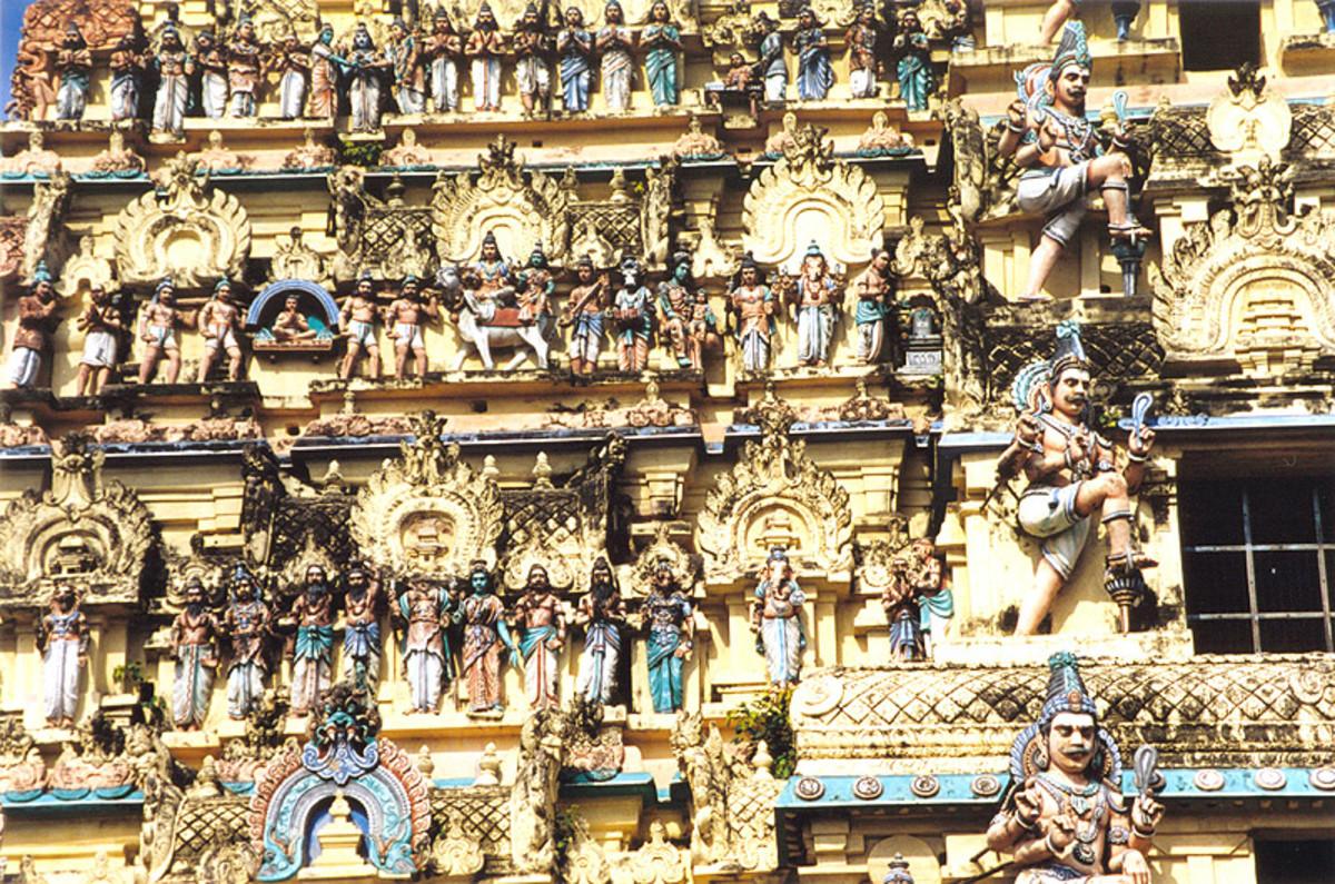 Intricate carvings adorn the eastern gopuram
