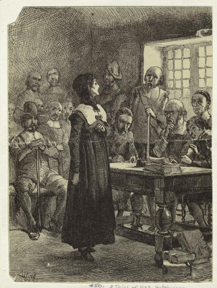 A depiction of Anne Hutchinson at trial in Massachusetts Bay by artist Edwin Abbey Austin, circa. 1876-1881