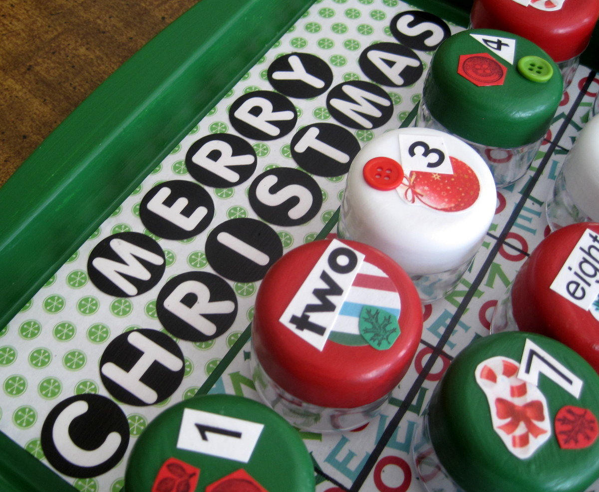 """I found a circled letter font, printed the letters that I needed, and then cut out them out with a 1"""" circle paper punch."""