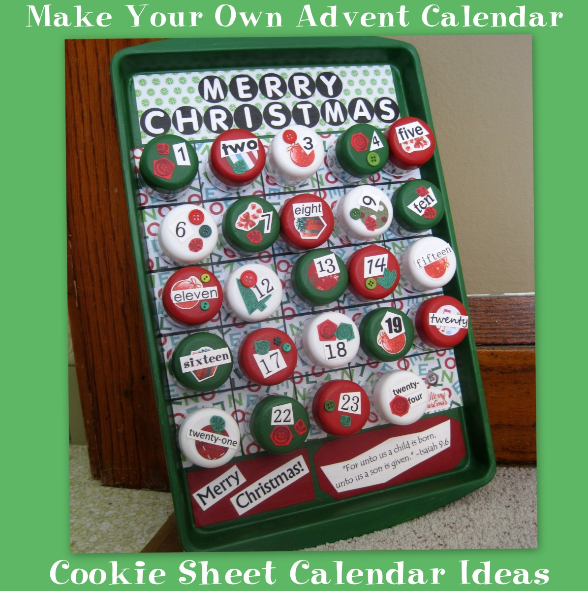 make your own advent calendar cookie sheet calendar ideas