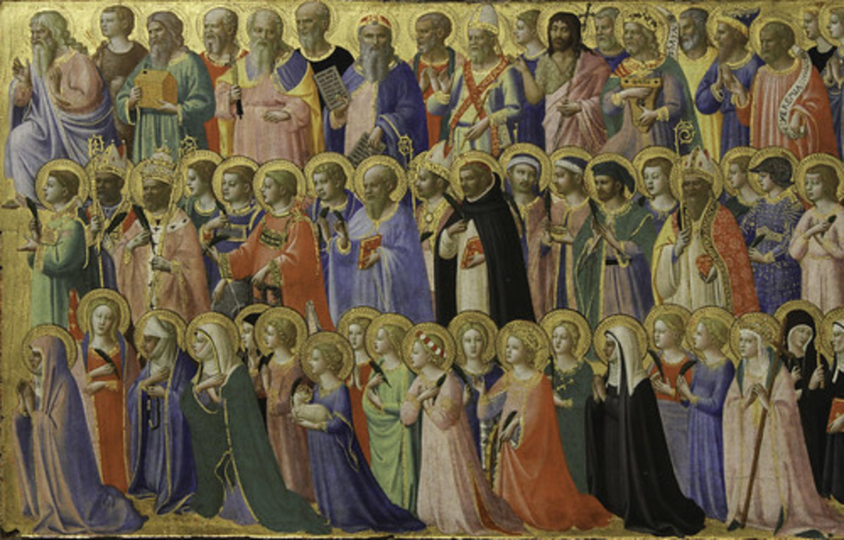 """Fra Angelico's painting """"The Forerunners of Christ with Saints and Martyrs"""" from the 1420s."""