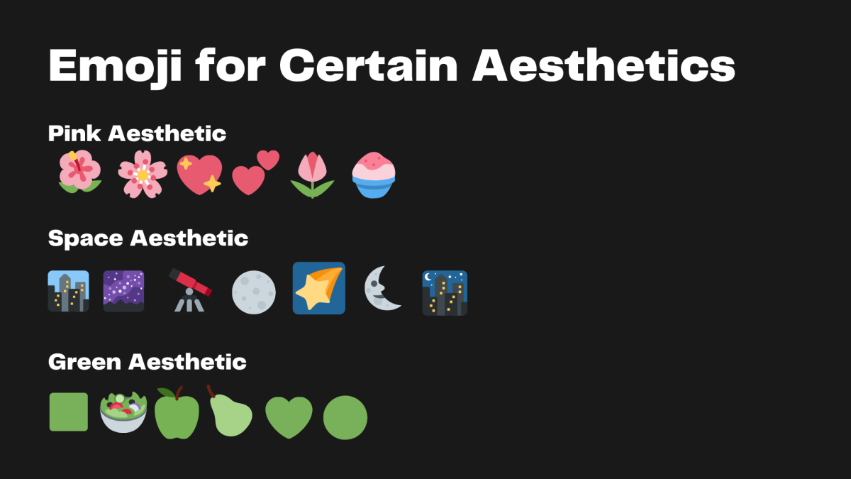Some examples of various aesthetics you could recreate simply by adding emoji to your name.