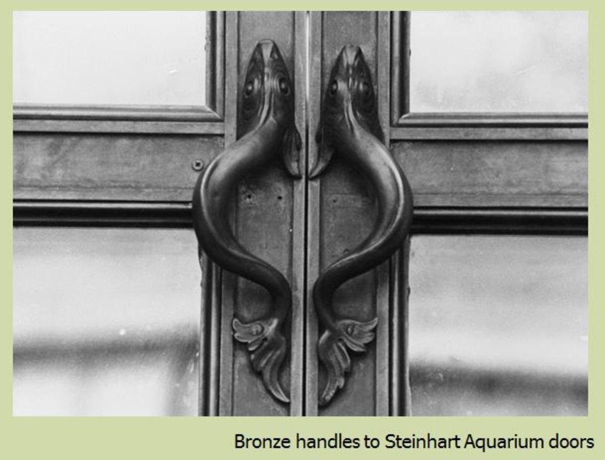 Bronze door handles at Steinhart Aquarium