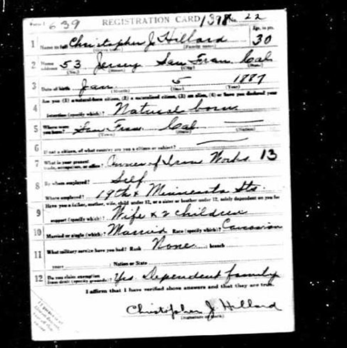 Christopher J HIllard Jr WWI Draft Card