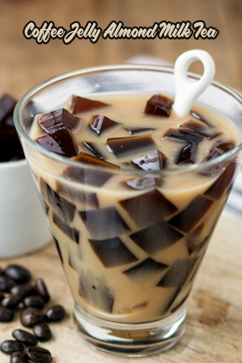 Make the coffee jelly by mixing together the coffee, gelatin and sugar until everything is dissolved completely. Pour into a gelatin mold or regular glass pan and let it set in the fridge for 4-6 hours. Meanwhile, in a small saucepan, prepare the mil
