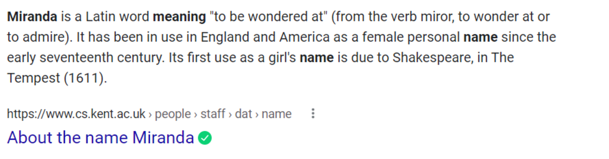 Miranda's name meaning according to Google . . . It's fitting.