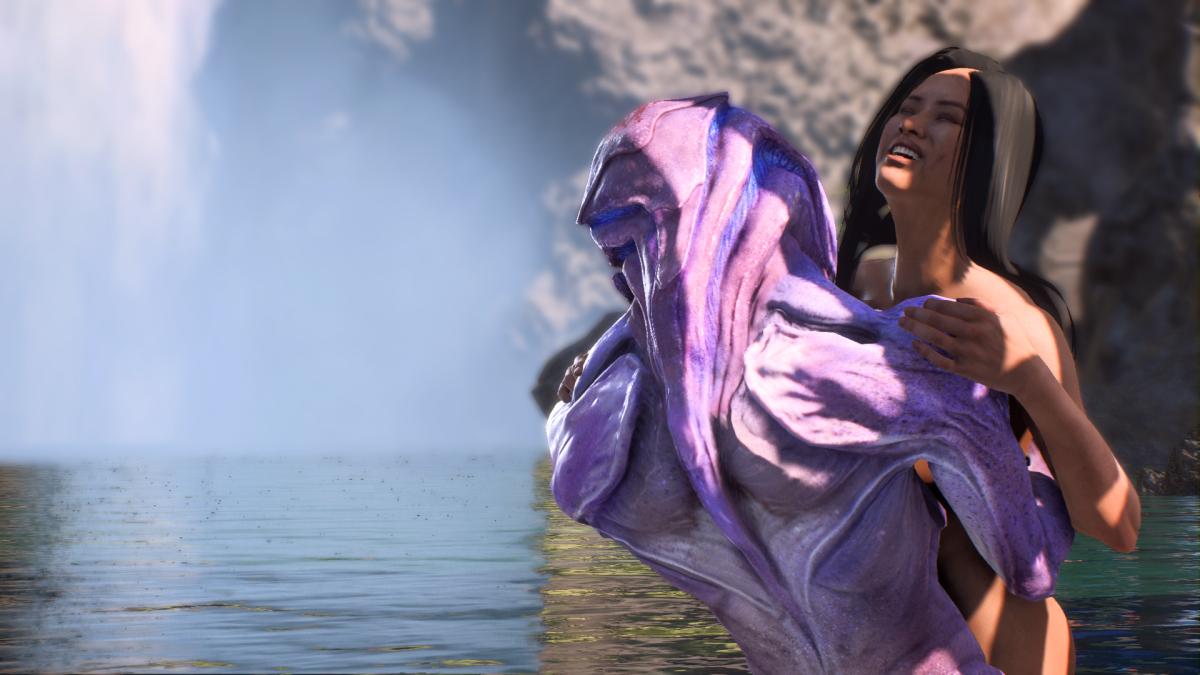 "My screenshot of Sara's nude scene with Jaal in ""Mass Effect Andromeda."""