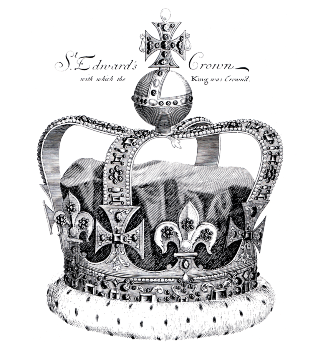St. Edward's Crown after repairs, was used for the 1689 coronation of James II, Charles II's younger brother.