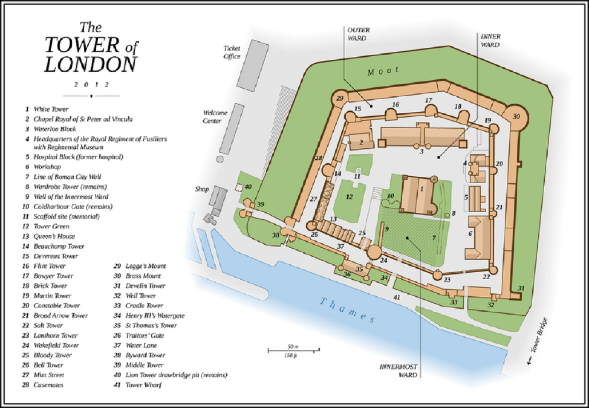 A 2012 Map Of The Tower Of London. Martin's Tower is number 19 at the top right. Thomas Romer CC BY SA 3.0