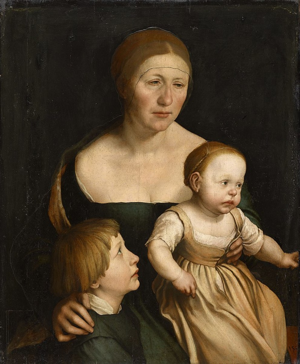 The Artist's Family (1528) by Hans Holbein. His wife Elsbeth, son Phillip and daughter Katherina are shown.