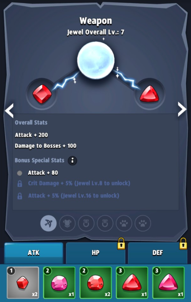 The ATK jewel page with some embedded level 3 Rubies that hit the bonus threshold to unlock an additional 80 attack.