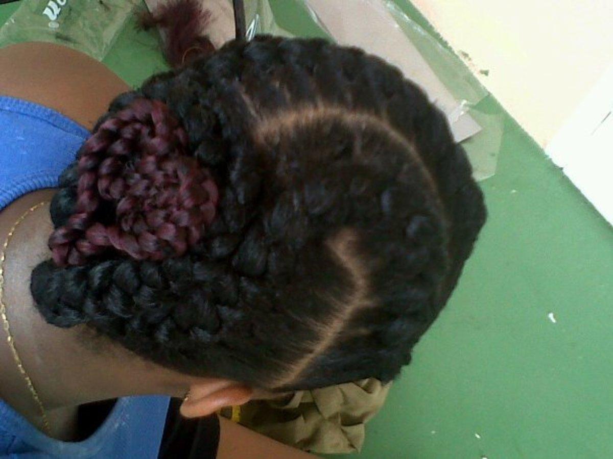 inside cornrows or goddess braids 6