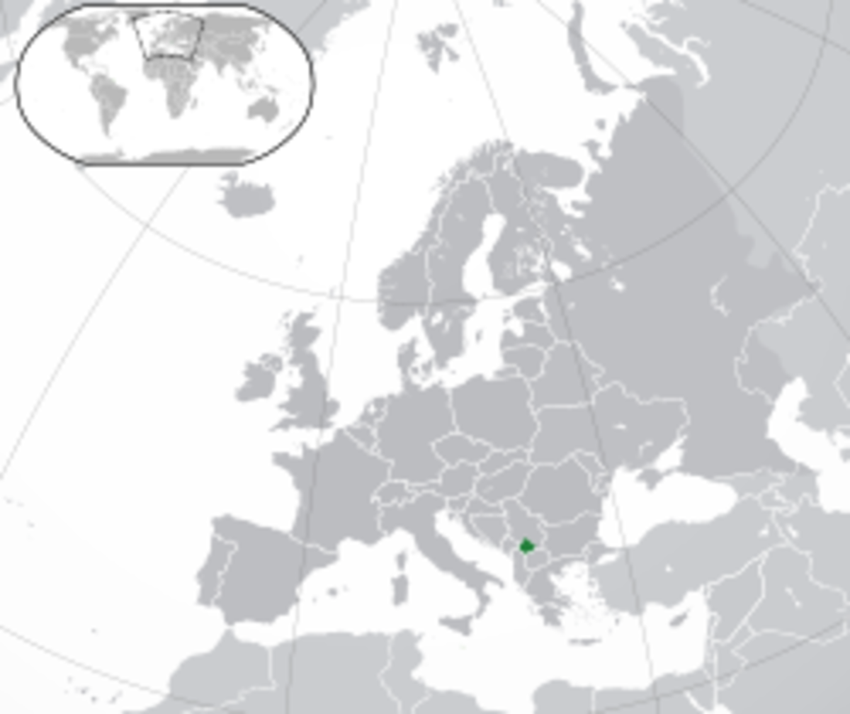 Location of Kosovo in Europe