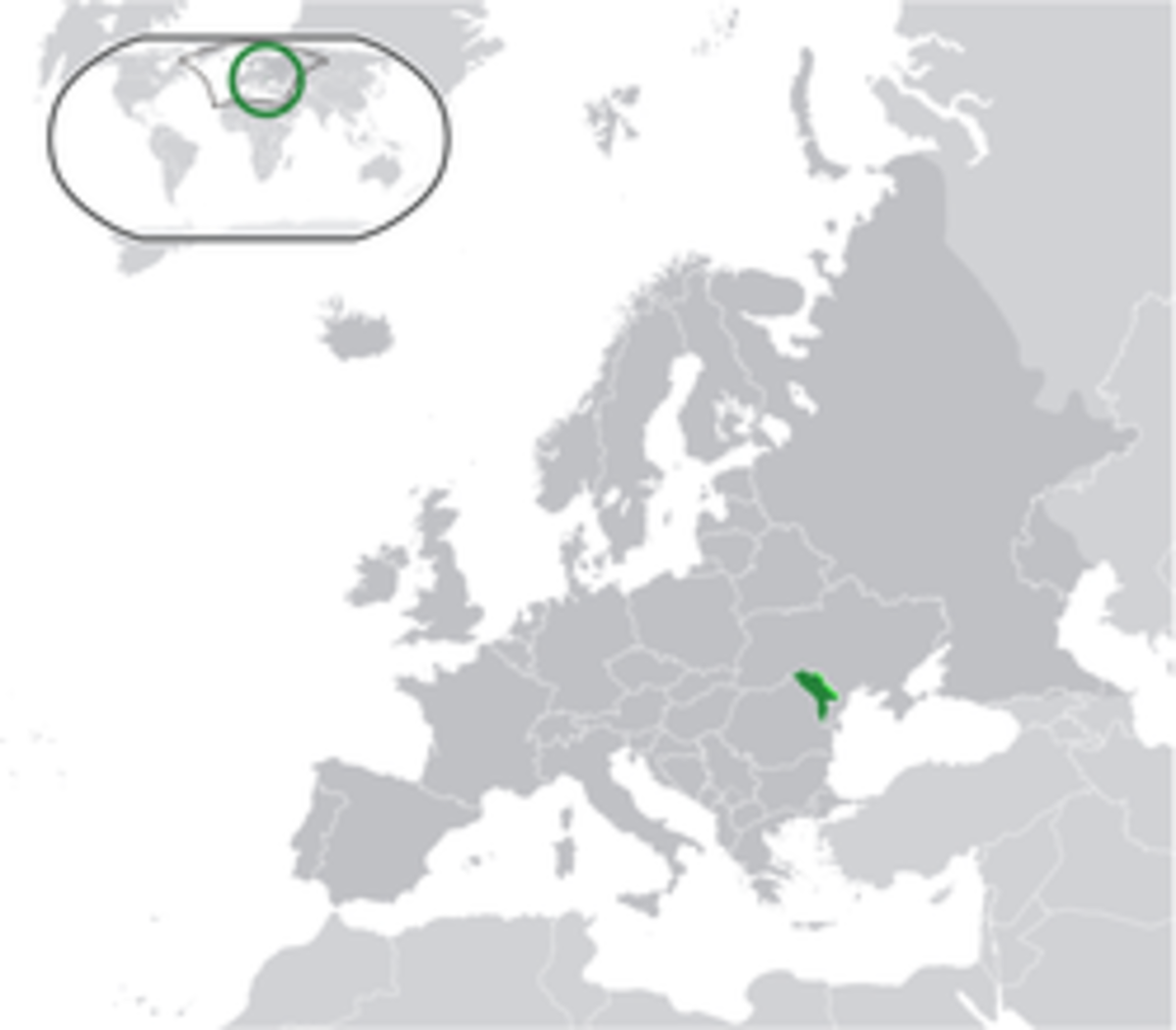 Location of Moldova in Europe