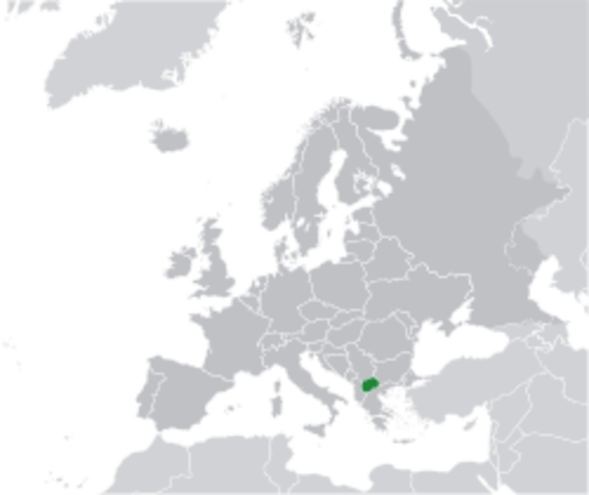 Location of North Macedonia in Europe