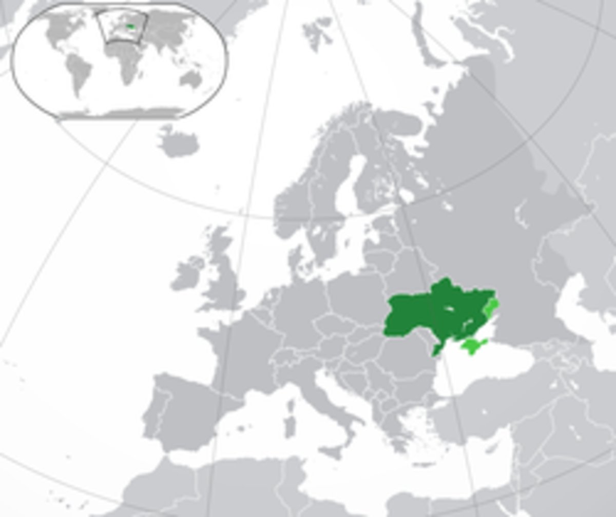 Location of Ukraine in Europe