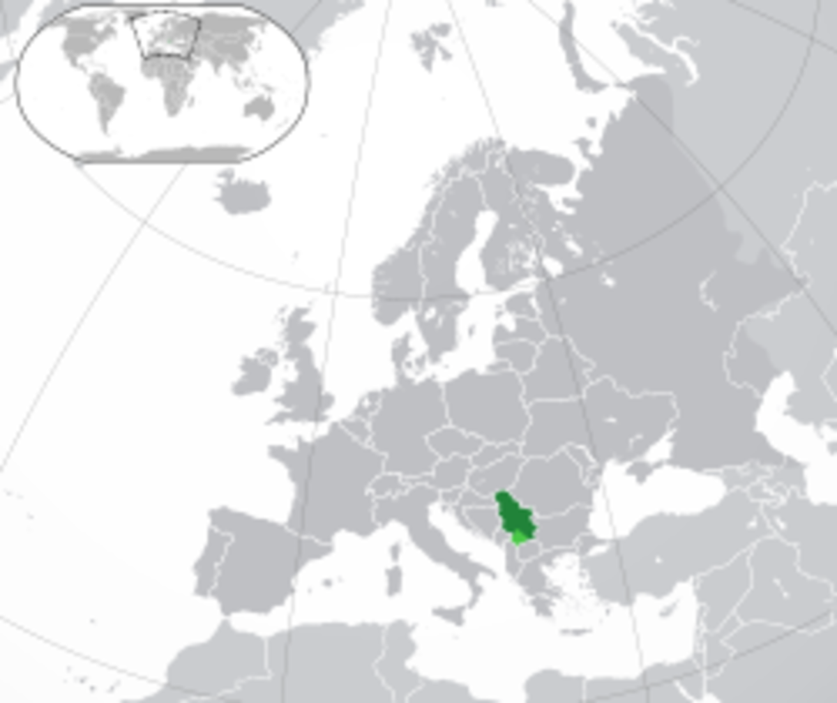Location of Serbia in Europe