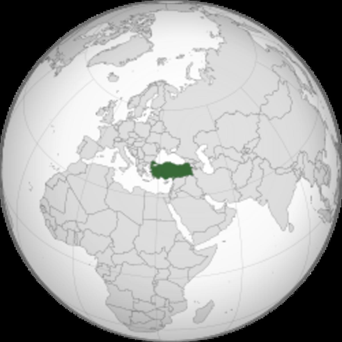 Location of Turkey in Europe