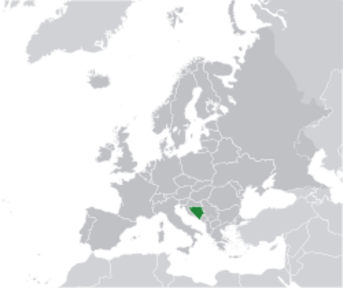 Location of Bosnia and Herzegovina in Europe