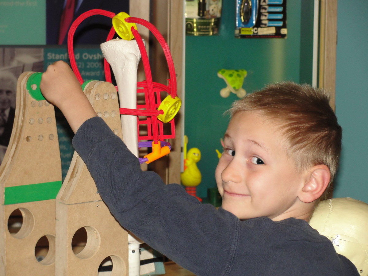 Creating new inventions in the children's play area at the National Museum of American History