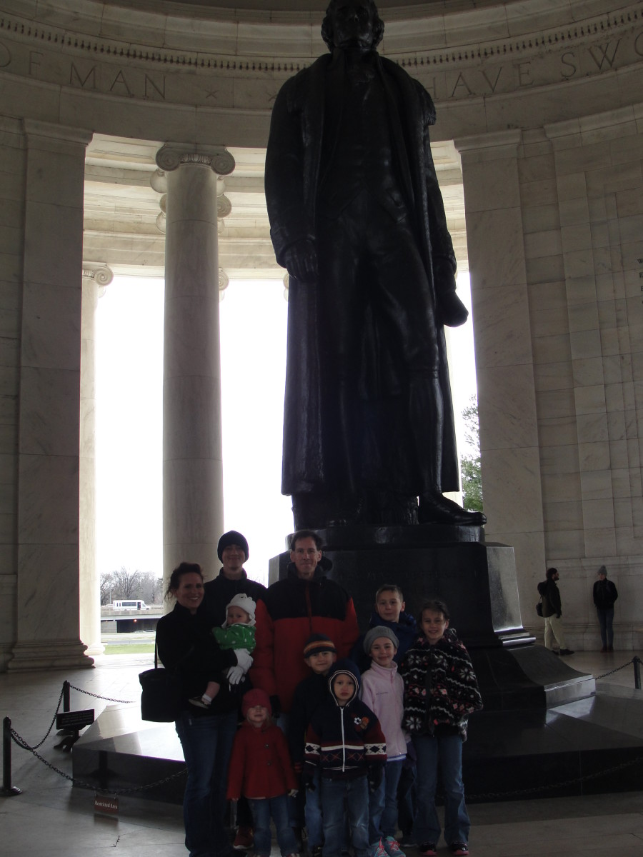 My older children enjoyed reading the walls of the Jefferson Memorial. Did you know the original statue was cast in plaster & painted to look bronze to preserve the metals needed during WWII? After the war, the statue was replaced with a bronze one.